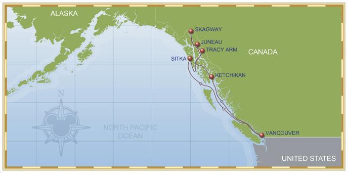 2014 9-Night Disney Alaska Cruise Map