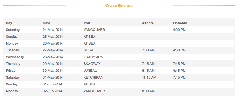 2014 9-Night Disney Alaska Cruise Itinerary