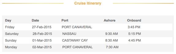 2015 3-Night Disney Dream Bahamian Cruise Itinerary