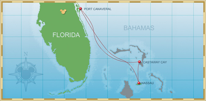 2015 3-Night Disney Dream Bahamian Cruise Map