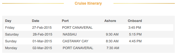 2015 3-Night Disney Dream Bahamian Cruise Itinerary